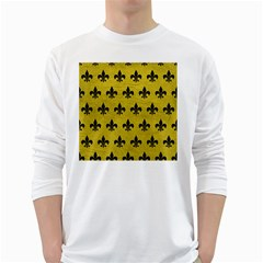 Royal1 Black Marble & Yellow Leather (r) White Long Sleeve T Shirts