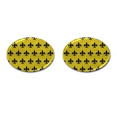 Royal1 Black Marble & Yellow Leather (r) Cufflinks (oval)