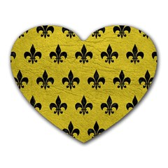 Royal1 Black Marble & Yellow Leather (r) Heart Mousepads