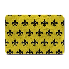 Royal1 Black Marble & Yellow Leather (r) Small Doormat
