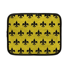 Royal1 Black Marble & Yellow Leather (r) Netbook Case (small)