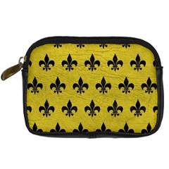 Royal1 Black Marble & Yellow Leather (r) Digital Camera Cases