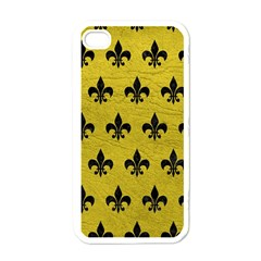 Royal1 Black Marble & Yellow Leather (r) Apple Iphone 4 Case (white)