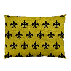 Royal1 Black Marble & Yellow Leather (r) Pillow Case (two Sides)