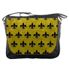 Royal1 Black Marble & Yellow Leather (r) Messenger Bags