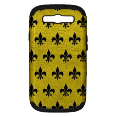 Royal1 Black Marble & Yellow Leather (r) Samsung Galaxy S Iii Hardshell Case (pc+silicone)