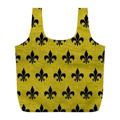 Royal1 Black Marble & Yellow Leather (r) Full Print Recycle Bags (l)