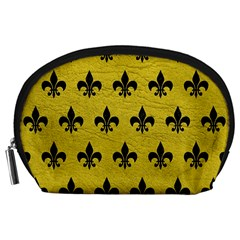 Royal1 Black Marble & Yellow Leather (r) Accessory Pouches (large)
