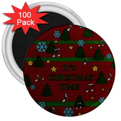 Ugly Christmas Sweater 3  Magnets (100 Pack)