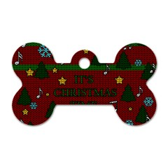 Ugly Christmas Sweater Dog Tag Bone (two Sides)