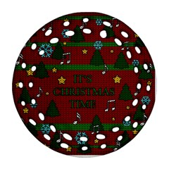 Ugly Christmas Sweater Ornament (round Filigree)