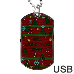 Ugly Christmas Sweater Dog Tag Usb Flash (one Side)
