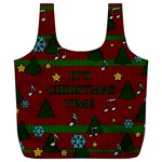 Ugly Christmas Sweater Full Print Recycle Bags (L)  Front