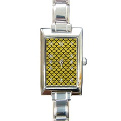 Scales1 Black Marble & Yellow Leather Rectangle Italian Charm Watch
