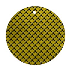 Scales1 Black Marble & Yellow Leather Ornament (round)