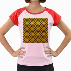 Scales1 Black Marble & Yellow Leather Women s Cap Sleeve T Shirt