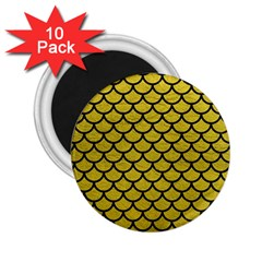 Scales1 Black Marble & Yellow Leather 2 25  Magnets (10 Pack)