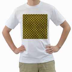 Scales1 Black Marble & Yellow Leather Men s T Shirt (white) (two Sided)
