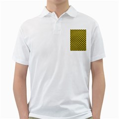 Scales1 Black Marble & Yellow Leather Golf Shirts