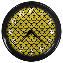 Scales1 Black Marble & Yellow Leather Wall Clocks (black)