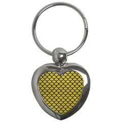 Scales1 Black Marble & Yellow Leather Key Chains (heart)