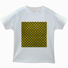 Scales1 Black Marble & Yellow Leather Kids White T Shirts