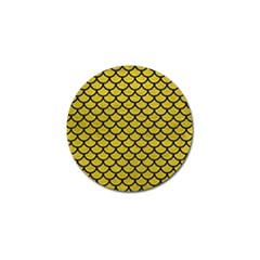 Scales1 Black Marble & Yellow Leather Golf Ball Marker