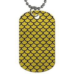 Scales1 Black Marble & Yellow Leather Dog Tag (two Sides)