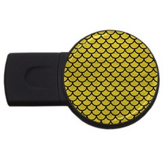 Scales1 Black Marble & Yellow Leather Usb Flash Drive Round (2 Gb)