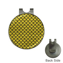 Scales1 Black Marble & Yellow Leather Hat Clips With Golf Markers