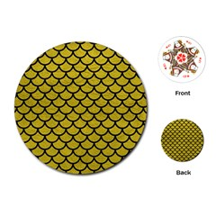 Scales1 Black Marble & Yellow Leather Playing Cards (round)