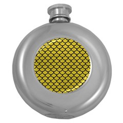 Scales1 Black Marble & Yellow Leather Round Hip Flask (5 Oz)