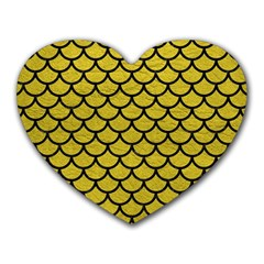 Scales1 Black Marble & Yellow Leather Heart Mousepads