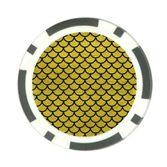 Scales1 Black Marble & Yellow Leather Poker Chip Card Guard