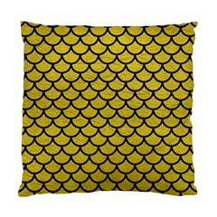 Scales1 Black Marble & Yellow Leather Standard Cushion Case (two Sides)