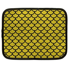 Scales1 Black Marble & Yellow Leather Netbook Case (xl)