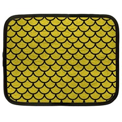 Scales1 Black Marble & Yellow Leather Netbook Case (xxl)