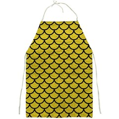 Scales1 Black Marble & Yellow Leather Full Print Aprons