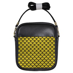 Scales1 Black Marble & Yellow Leather Girls Sling Bags