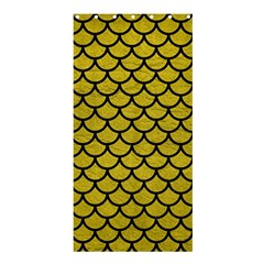 Scales1 Black Marble & Yellow Leather Shower Curtain 36  X 72  (stall)