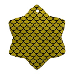 Scales1 Black Marble & Yellow Leather Ornament (snowflake)