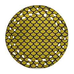 Scales1 Black Marble & Yellow Leather Round Filigree Ornament (two Sides)