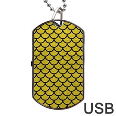 Scales1 Black Marble & Yellow Leather Dog Tag Usb Flash (two Sides)