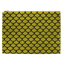 Scales1 Black Marble & Yellow Leather Cosmetic Bag (xxl)