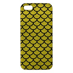Scales1 Black Marble & Yellow Leather Apple Iphone 5 Premium Hardshell Case