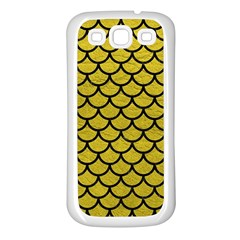 Scales1 Black Marble & Yellow Leather Samsung Galaxy S3 Back Case (white)