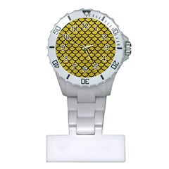 Scales1 Black Marble & Yellow Leather Plastic Nurses Watch