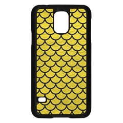 Scales1 Black Marble & Yellow Leather Samsung Galaxy S5 Case (black)