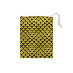 Scales1 Black Marble & Yellow Leather Drawstring Pouches (small)