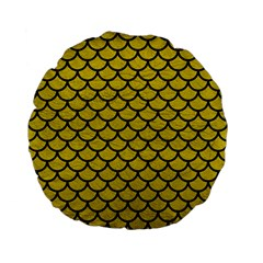 Scales1 Black Marble & Yellow Leather Standard 15  Premium Flano Round Cushions